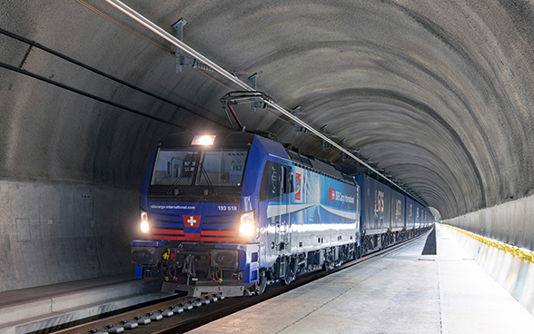 The first freight train of SBB Cargo International train passes the Ceneri Base Tunnel.